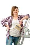 målare för målarfärg för borstekvinnlig vänlig Royaltyfri Bild