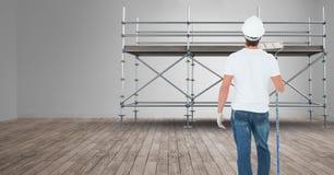 Målare framme av materialet till byggnadsställning 3D Arkivfoto