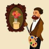 Målare med Art Supplies Cartoon Illustration royaltyfri illustrationer