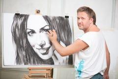 Målare och hans konst Fotografering för Bildbyråer