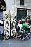 Målare som målar stående i Las Ramblas de Catalunya, Barcelonas Arkivfoto