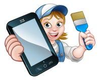 MålareDecorator Handyman Phone begrepp vektor illustrationer