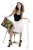 målarekvinna Royaltyfria Bilder