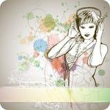 målarfärg för färgdj-flicka stock illustrationer