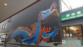 Målarfärg för konst för drakechinatown toronto grafitti arkivbilder