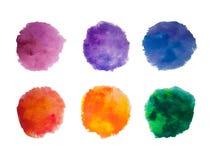 Målarfärg för regnbågefärgvattenfärgen befläcker vektorbakgrundsuppsättningen Royaltyfri Foto