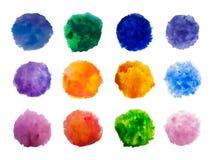 Målarfärg för regnbågefärgvattenfärgen befläcker vektorbakgrundsuppsättningen Fotografering för Bildbyråer