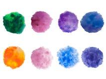 Målarfärg för regnbågefärgvattenfärgen befläcker vektorbakgrundsuppsättningen Arkivfoto