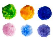Målarfärg för regnbågefärgvattenfärgen befläcker vektorbakgrundsuppsättningen Arkivbild