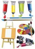 Målarfärg för staffli för konstmaterialsymboler fastställd vektor illustrationer