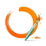 Målarfärgborste. måla cirkelorangebakgrund stock illustrationer