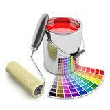 Målarfärgcan-, palett- och rullborste Begrepp 3d Arkivfoton