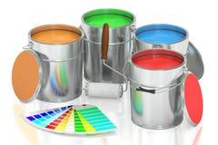 Målarfärgcans-, palett- och rullborste framförande 3d Royaltyfri Bild