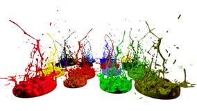Målarfärgdans på vit bakgrund Simulering av färgstänk 3d av färgpulver på en musikalisk högtalare som spelar musik härligt Royaltyfria Bilder