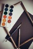 Målarfärger för konstnär` s Arkivfoto