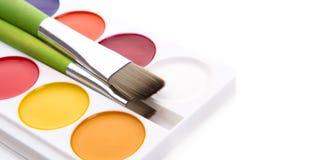 Målarfärger för vattenfärg Arkivfoton