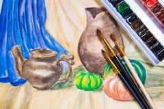Målarfärger med borstar på måla för vattenfärger Fotografering för Bildbyråer