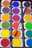 Målarfärger och paintbrush Royaltyfri Fotografi