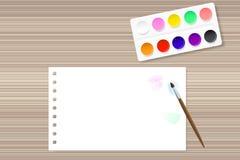 Målarfärger och papper på trätabellen vektor illustrationer