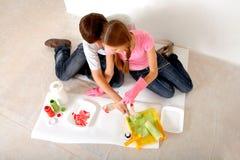 målarfärger som förbereder sig Arkivfoto