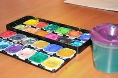 målarfärger ställde in vattenfärg Fotografering för Bildbyråer