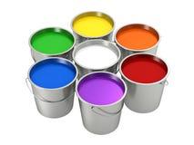 Målarfärghinkar - färghjul Arkivfoto