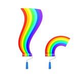 Målarfärgrulle och regnbåge stock illustrationer