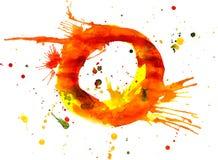 målarfärgvattenfärg för bokstav o royaltyfri illustrationer