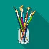 Målarpenslar för att måla i krussymbolen i plan stil som isoleras på vit bakgrund Konstnär- och teckningssymbolmateriel Royaltyfria Foton