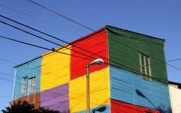 Målat gammalt hus på den Caminito gatan.  Buenos Aires. Arkivfoto
