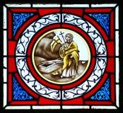 Målat glassänka med Jesus Arkivfoton