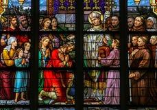 Målat glass av helgonet Wilibrord i Den Bosch Cathedral Royaltyfri Foto