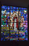 Målat glass av Jesus som predikar ordet Royaltyfri Bild