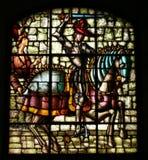 Målat glass av konungen Alfonso VIII av Castilla. royaltyfri fotografi
