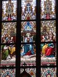 Målat glass i basilikan av helgon Peter och Paul Royaltyfri Foto