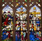 Målat glass i den Batalha kloster - korsfästelse av Jesus Fotografering för Bildbyråer