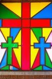 Målat glass i kyrkor fotografering för bildbyråer