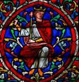 Målat glass i Notre Dame, Paris av konungen Solomon royaltyfria bilder