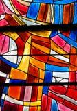 Målat glass i Paris, St Severin Church royaltyfri foto