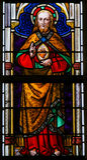 Målat glass - Jesus Christ och den sakrala hjärtan Fotografering för Bildbyråer