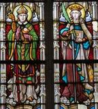 Målat glass - katolska helgon Royaltyfria Foton