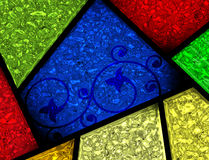 Målat glass mönstrad fönsteravsnittdetalj Arkivbild