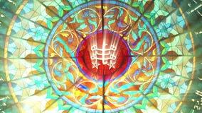 Målat glass med det Bahai ringstonesymbolet (den sömlösa öglan för HQ 1080p) royaltyfri illustrationer