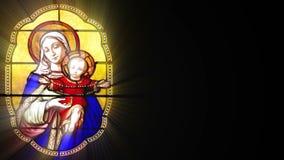 Målat glass med Mary och Jesus (den sömlösa öglan) vektor illustrationer