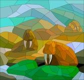 Målat glass med valrossar i färgrikt nordligt landskap Royaltyfri Foto