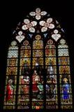 Målat glass på domkyrkan av St Michael och St Gudula Bryssel Arkivfoton