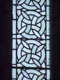Målat glass på Mont Saint Michel Abbey, Frankrike Arkivbilder