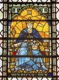 Målat glass Westminster Abbey London England för konung Henry 5 Royaltyfri Bild