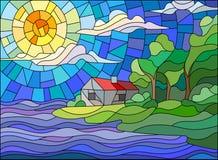 Målat glassbild av ett landskap, ett ensamt hus på havskusten mot inställningssolen vektor illustrationer