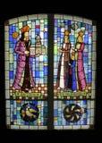 Målat glassCozia kloster Arkivbilder